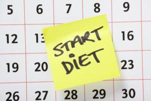 """Kalender mit """"Start Diet"""" Post-It"""