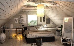 Bilder an der Giebelseite in einem Zimmer mit Dachschräge