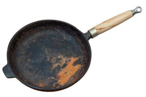 Rostige Eisenpfanne