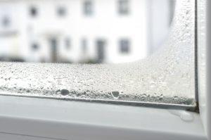 Kondenswasser an Fensterscheibe