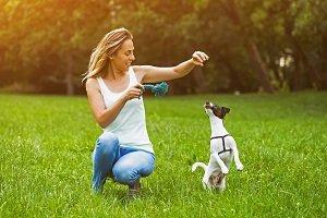 Frau spielt mit Hund.