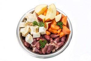 Frischfleisch für Hunde mit Obst und Gemüse.