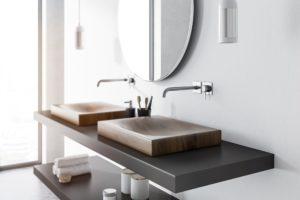zwei moderne waschbecken