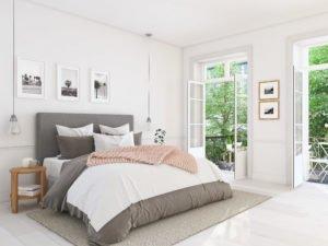 schlafzimmer mit teppich unterm bett