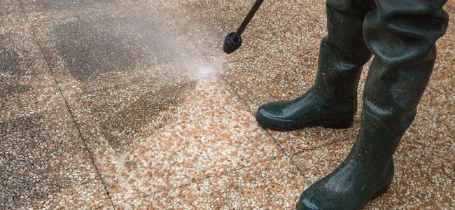 Waschbetonplatten reinigen: Vermooste und verwitterte Gartenplatten wieder sauber bekommen