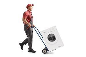 Waschmaschine mit Sackkarre.
