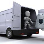Waschmaschine wird für den Umzug verladen.